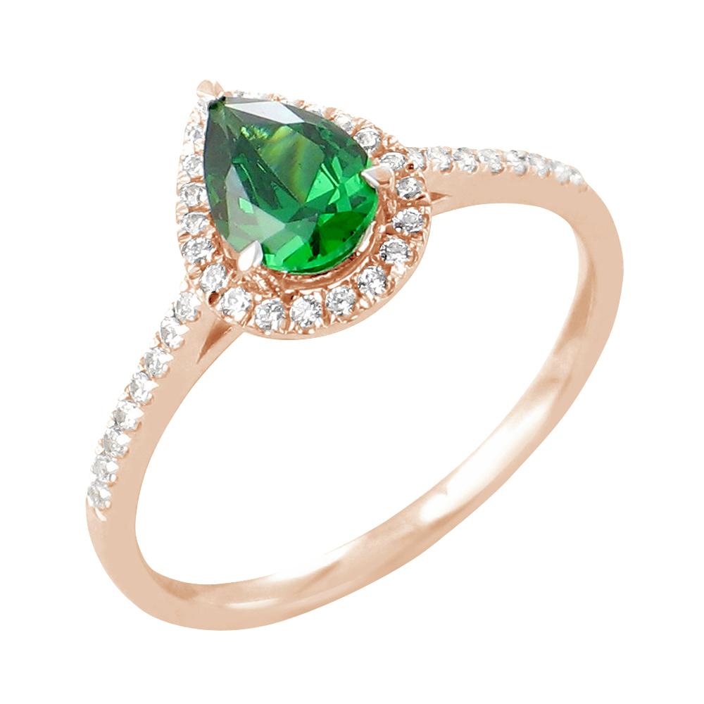 Siva bague or rose 18 carats emeraude et diamants Diveene joaillerie