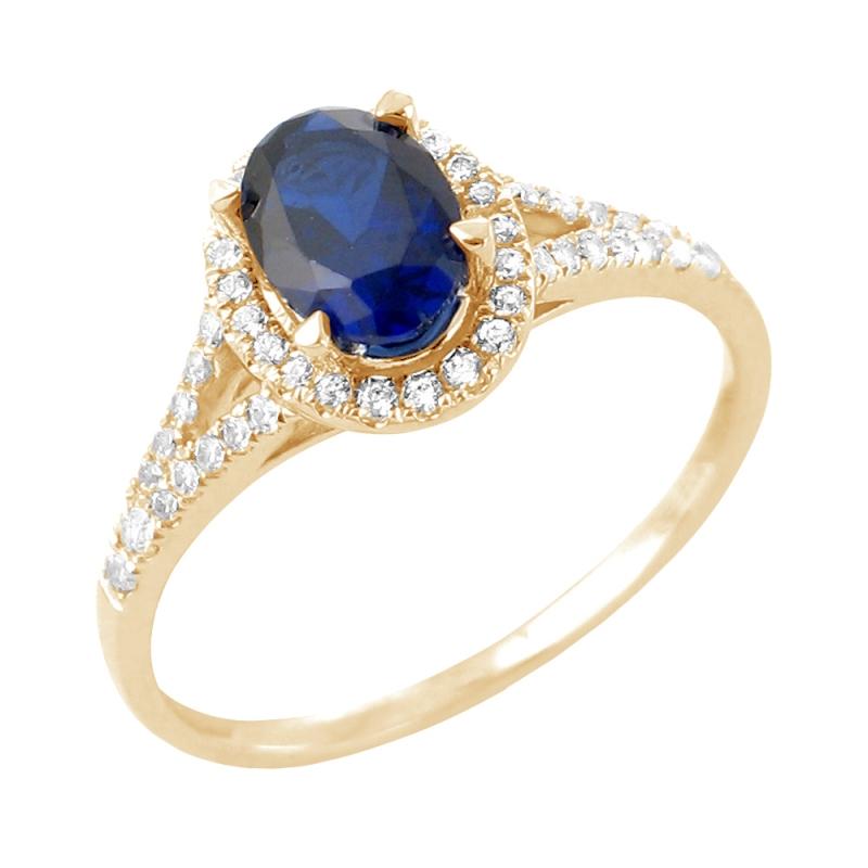 Bague or jaune, Saphir et Diamants , Babeth