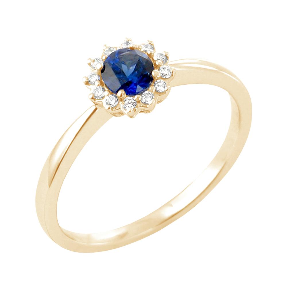 Daisy bague or jaune 18 carats saphir et diamants Diveene joaillerie