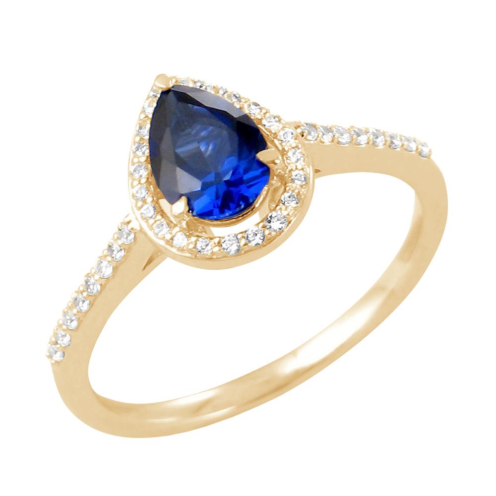 Gemma bague or jaune 18 carats saphir et diamants Diveene joaillerie