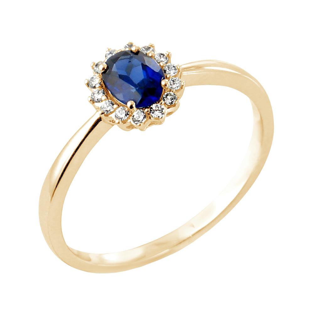 Oléane bague or jaune 18 carats saphir et diamants Diveene joaillerie