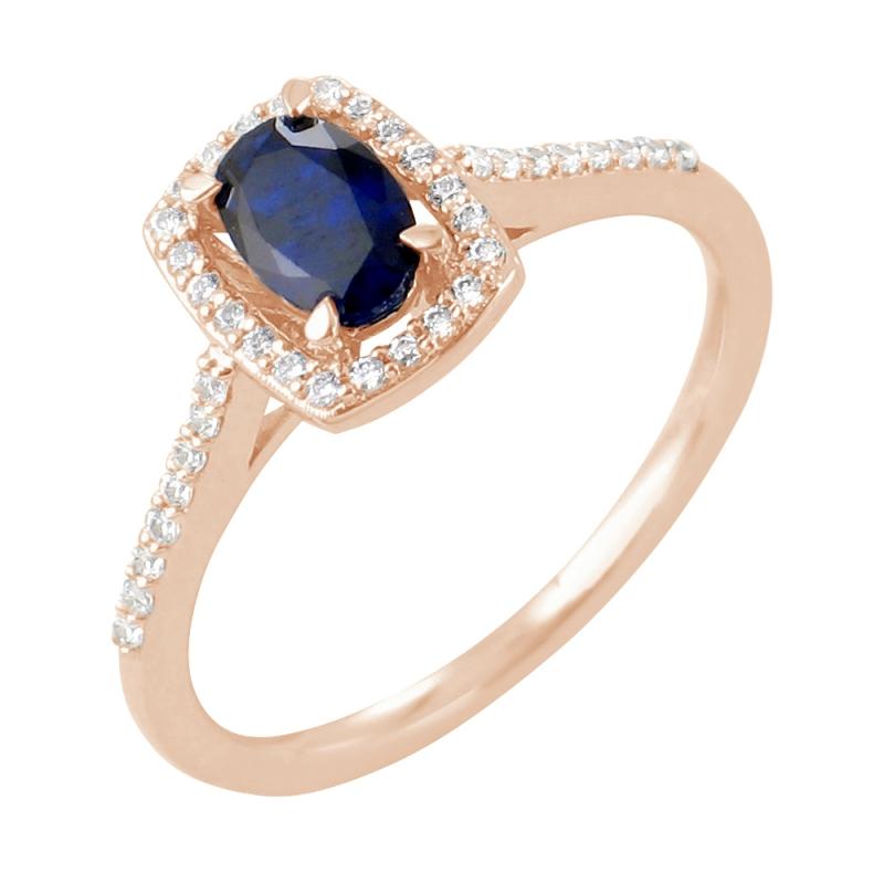 Bague or rose, Saphir et Diamants , Astrid