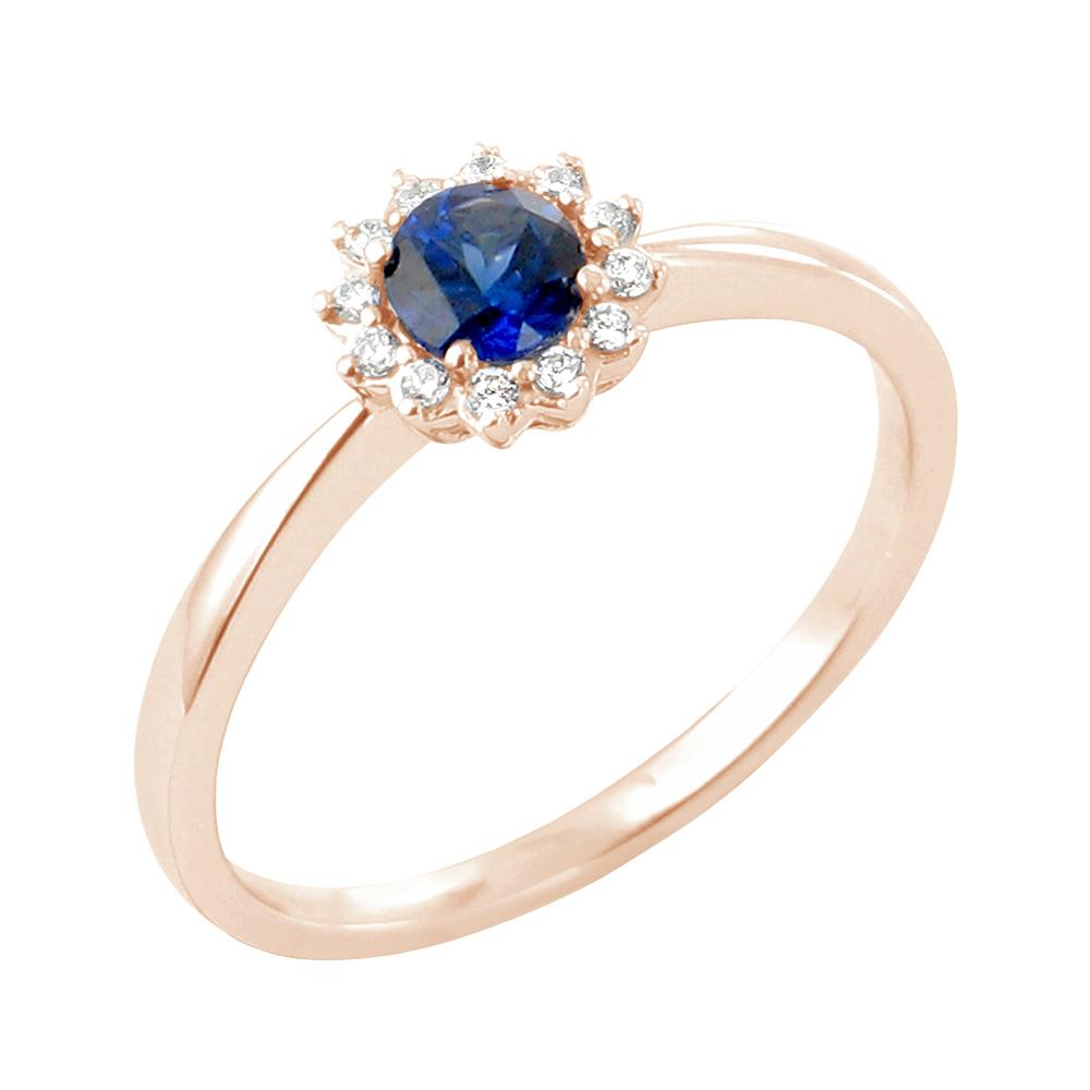 Daisy bague or rose 18 carats saphir et diamants Diveene joaillerie
