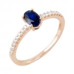 Diane bague or rose 18 carats saphir et diamants Diveene joaillerie