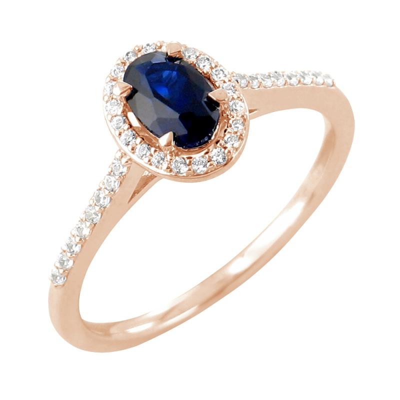 Bague or rose, Saphir et Diamants , Frija