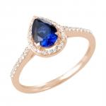 Gemma bague or rose 18 carats saphir et diamants Diveene joaillerie