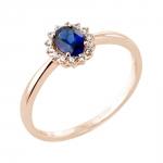 Oléane bague or rose 18 carats saphir et diamants Diveene joaillerie