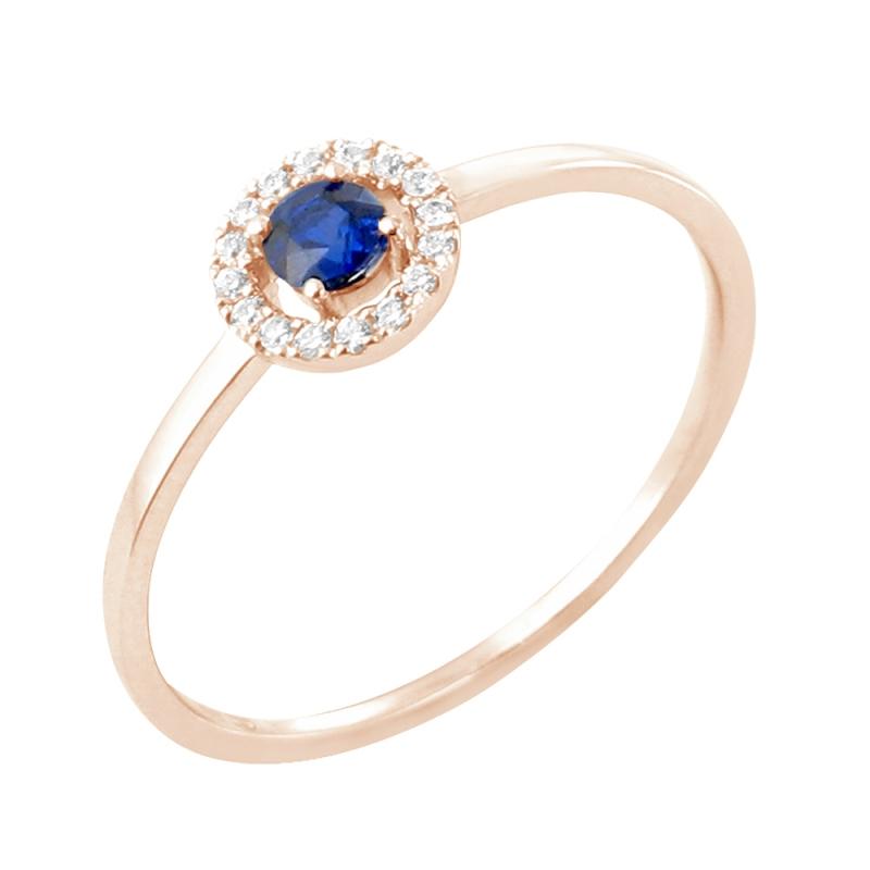 Bague or rose, Saphir et Diamants , Paola