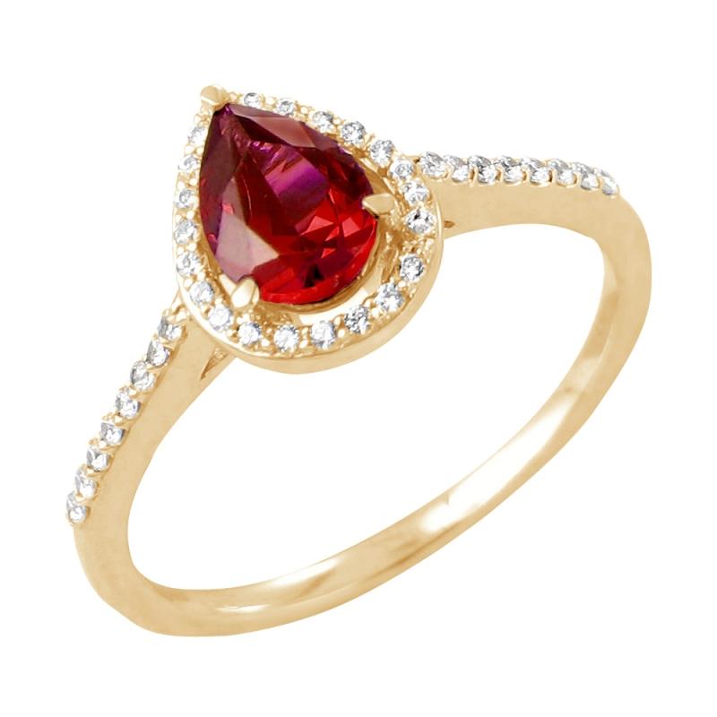 18k Yellow Gold Ruby and Diamond ring , Freya