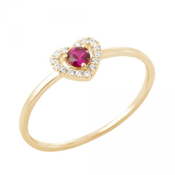 Myrtille bague or jaune 18 carats rubis et diamants Diveene joaillerie