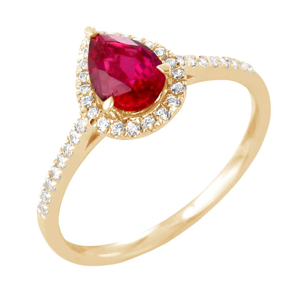Pétula bague or jaune 18 carats rubis et diamants Diveene joaillerie