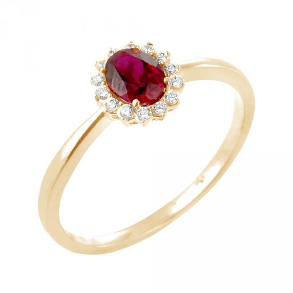 Rosa bague or jaune 18 carats rubis et diamants Diveene joaillerie