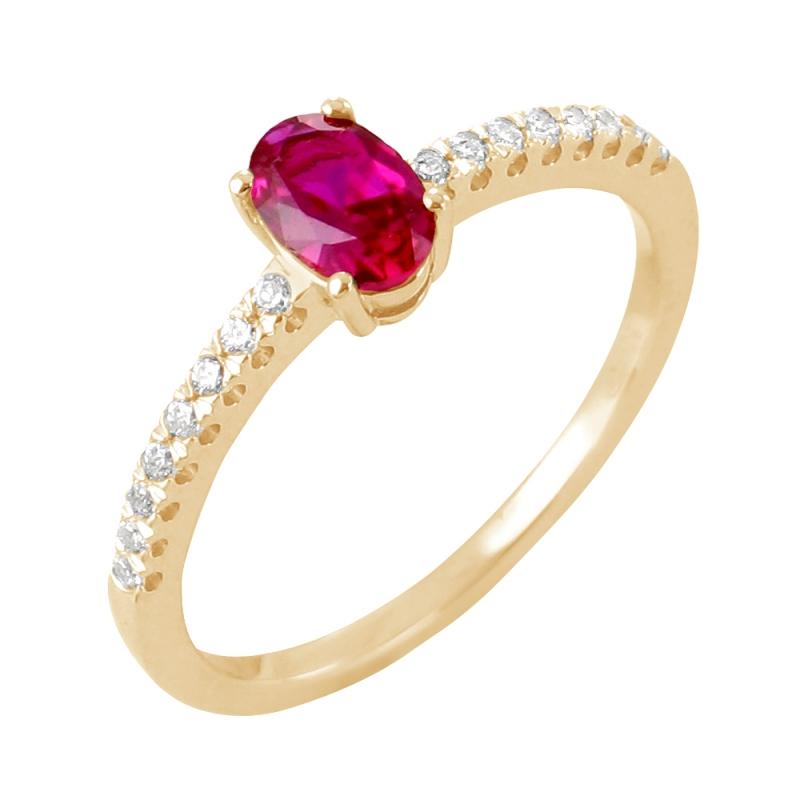 Bague or jaune, Rubis et Diamants , Sélene
