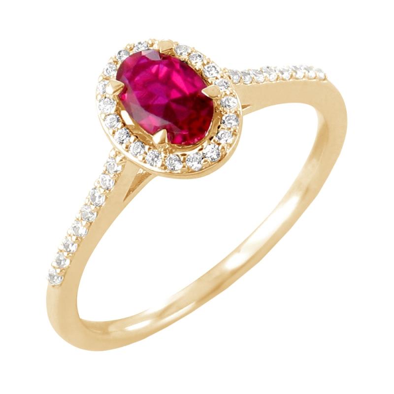 Bague or jaune, Rubis et Diamants , Surya