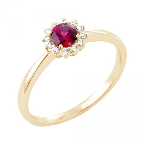 Ursuline bague or jaune 18 carats rubis et diamants Diveene joaillerie