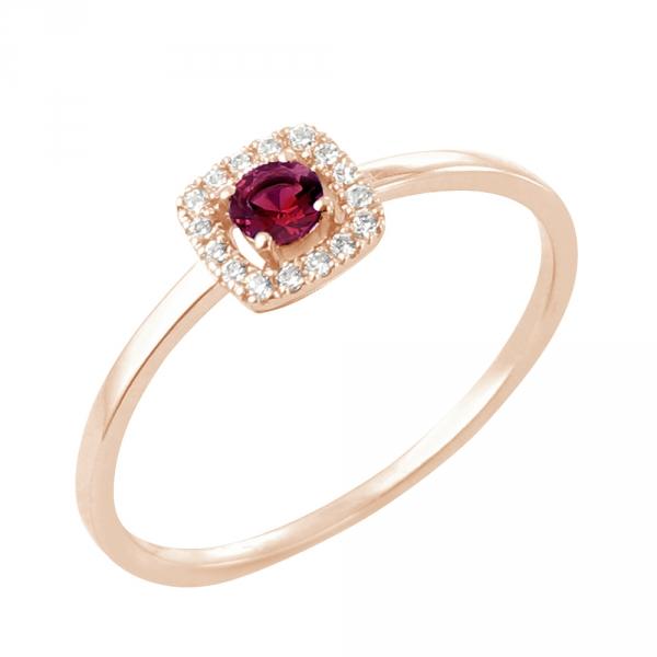 Tani bague or rose 18 carats rubis et diamants Diveene joaillerie