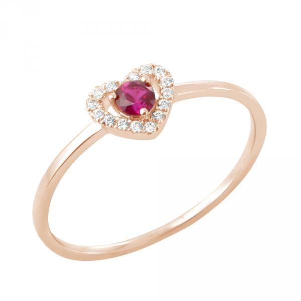 Myrtille bague or rose 18 carats rubis et diamants Diveene joaillerie