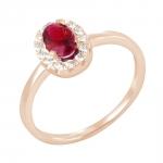 Saba bague or rose 18 carats rubis et diamants Diveene joaillerie