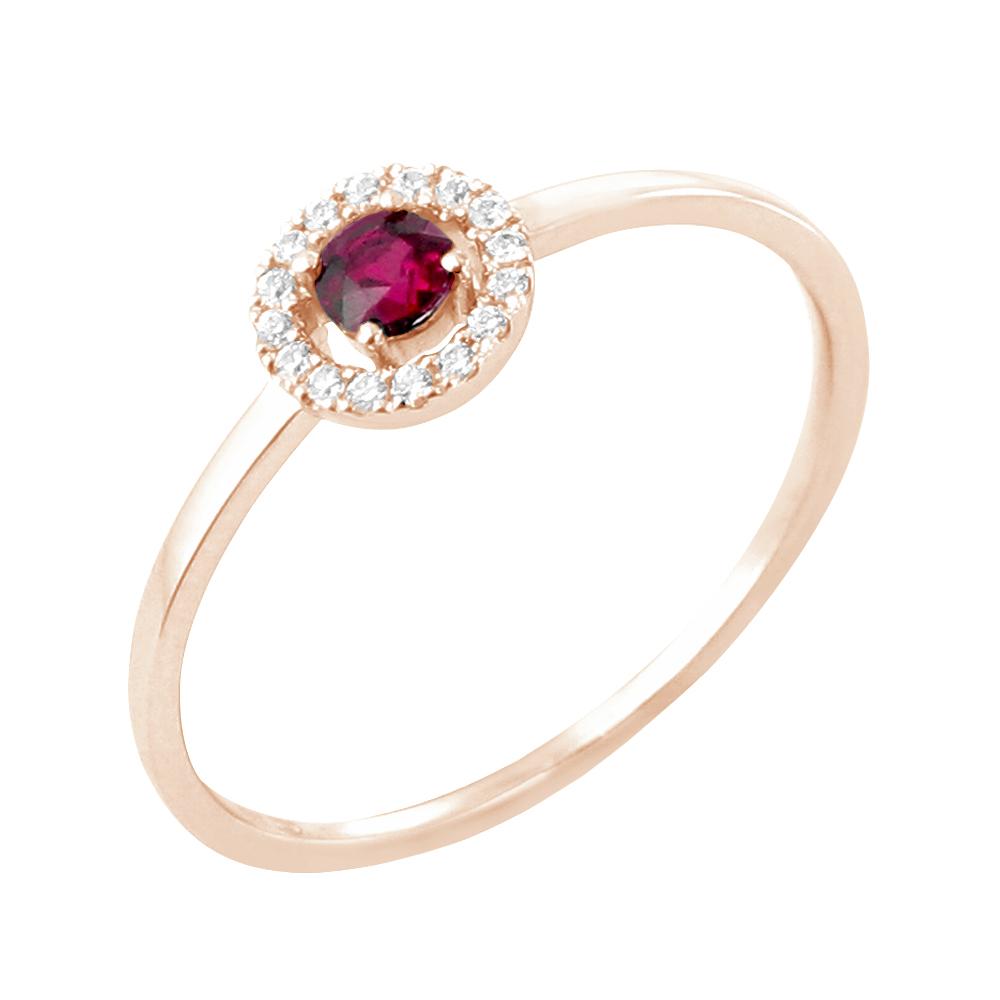 Lucia bague or rose 18 carats rubis et diamants Diveene joaillerie
