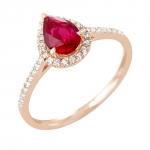 Pétula bague or rose 18 carats rubis et diamants Diveene joaillerie