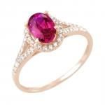 Rayssa bague or rose 18 carats rubis et diamants Diveene joaillerie