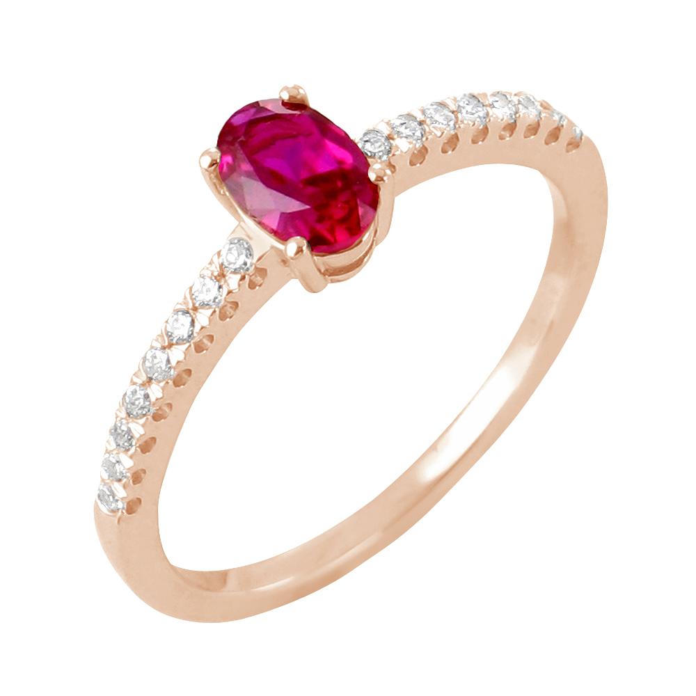 Sélene bague or rose 18 carats rubis et diamants Diveene joaillerie