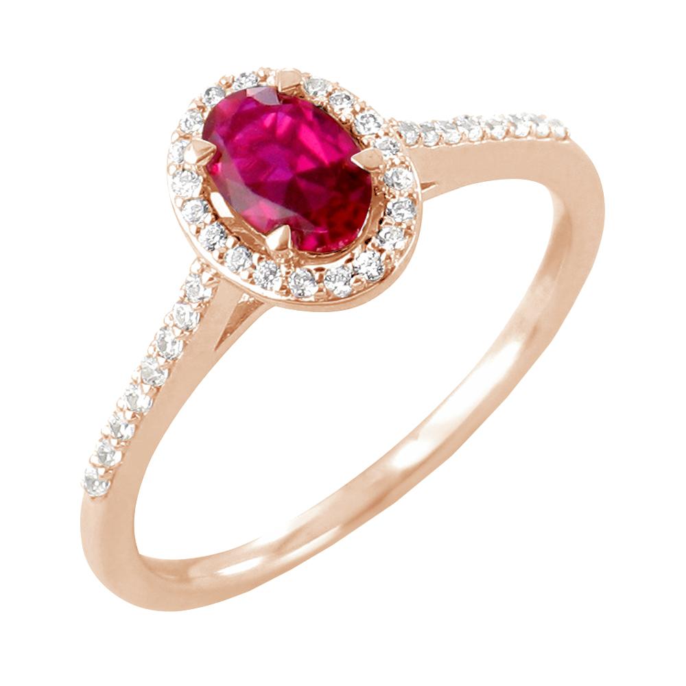 Surya bague or rose 18 carats rubis et diamants Diveene joaillerie