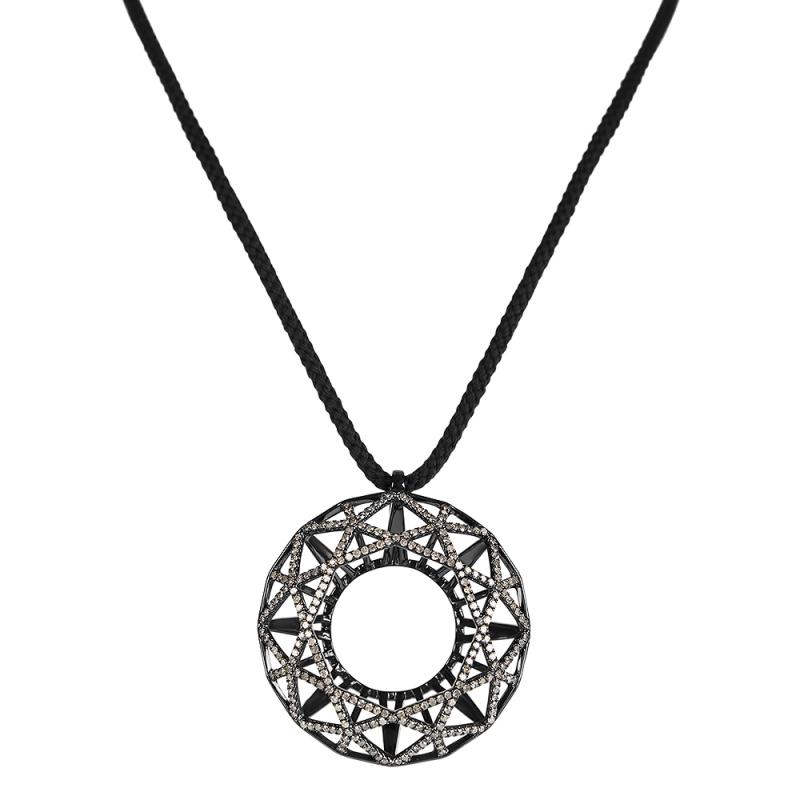 Collier cordon argent, Diamant , Round Shadow