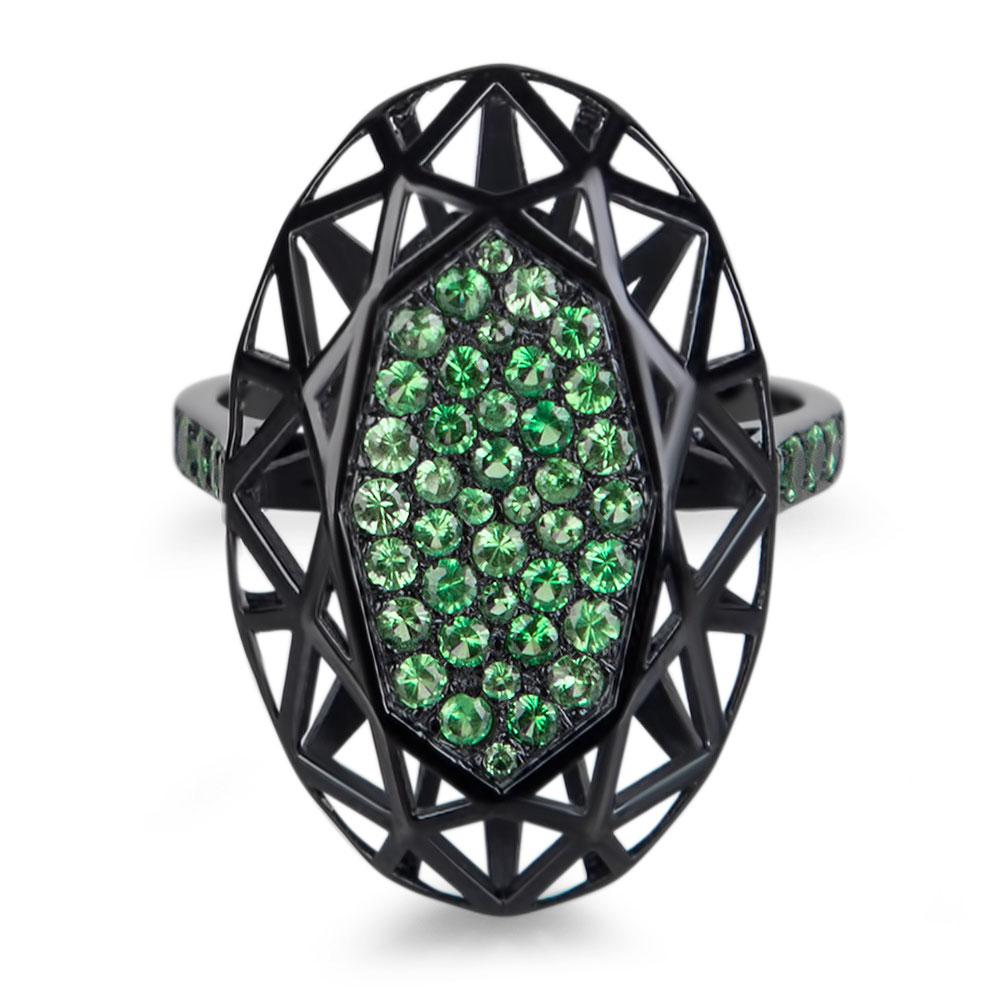 bague shadow haute joaillerie parisienne or noir et tsavorites fabrication artisanale diveene joaillerie