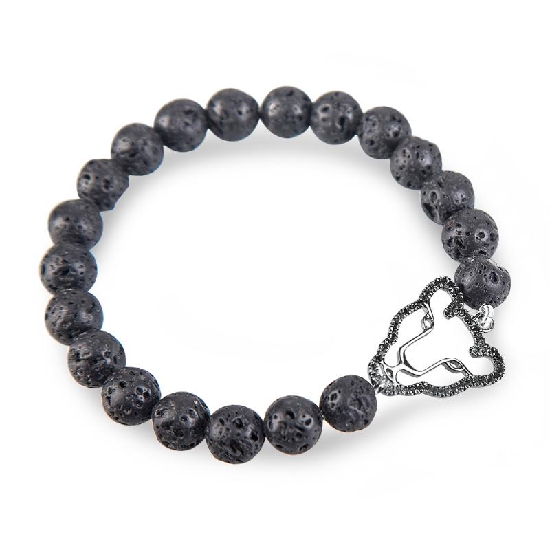Bracelet argent, Diamant noir et Pierre de Lave , Wild