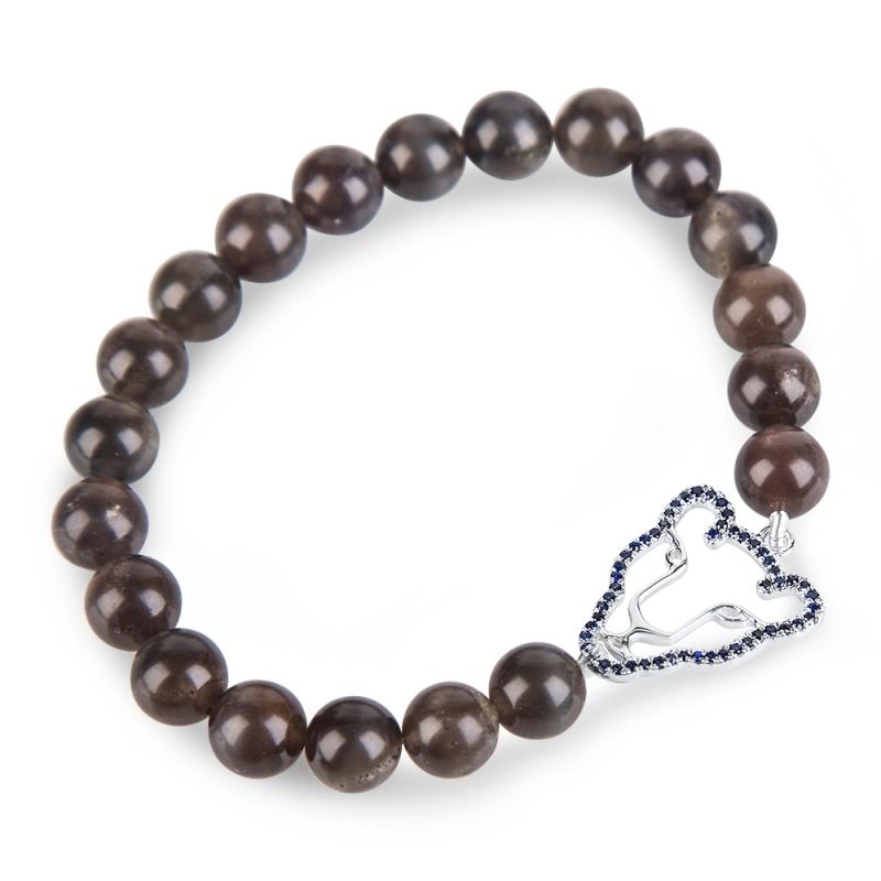 Bracelet argent, Saphir et Oeil de Chat , Wild