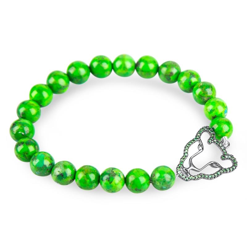 Bracelet argent, Tsavorite et Turquoise verte , Wild