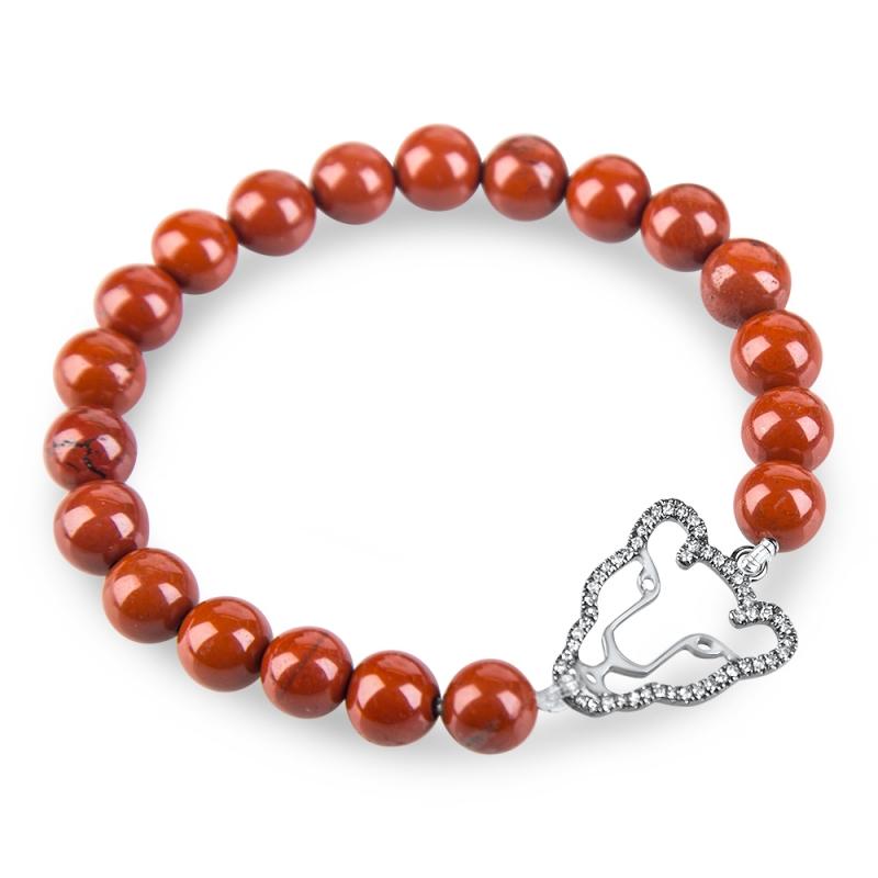 Bracelet argent, Diamant brun et Jaspe rouge , Wild