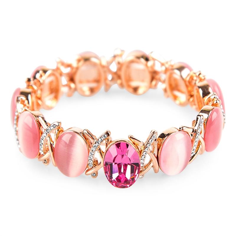 Bracelet doré à l'or fin, Opales turquoise et Cristal Swarovski , Lysia