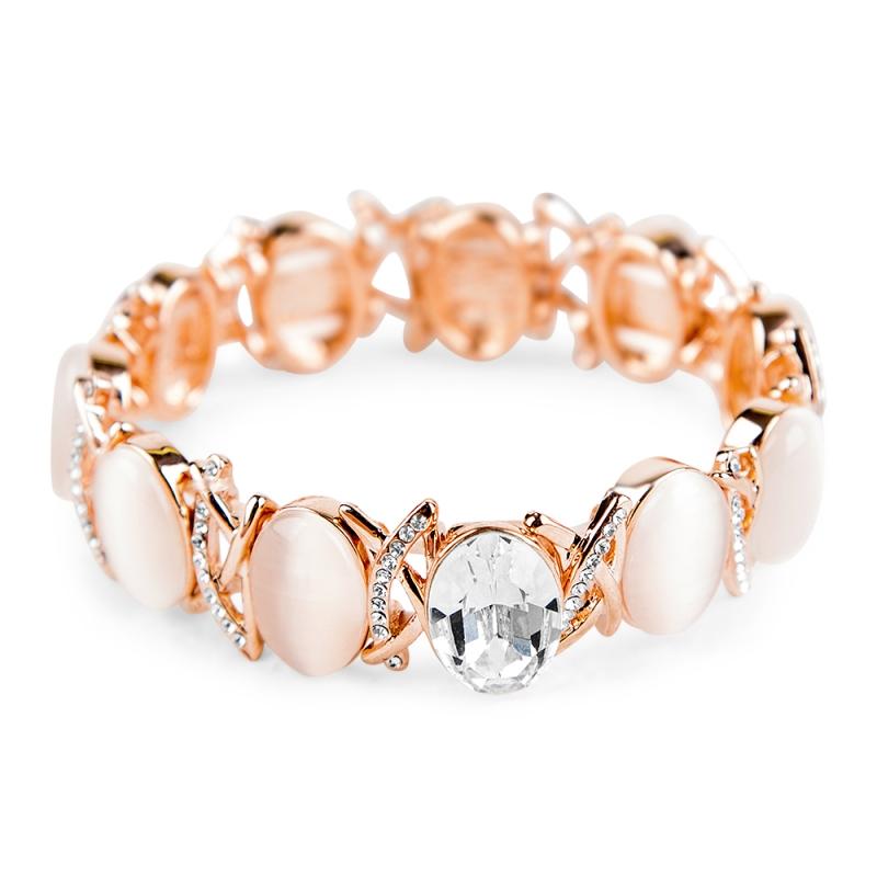 Bracelet doré à l'or fin, Opales blanches et Cristal Swarovski , Lysia