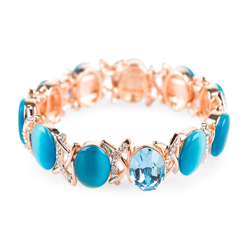 Bracelet doré à l'or fin, Opales rose et Cristal Swarovski , Lysia