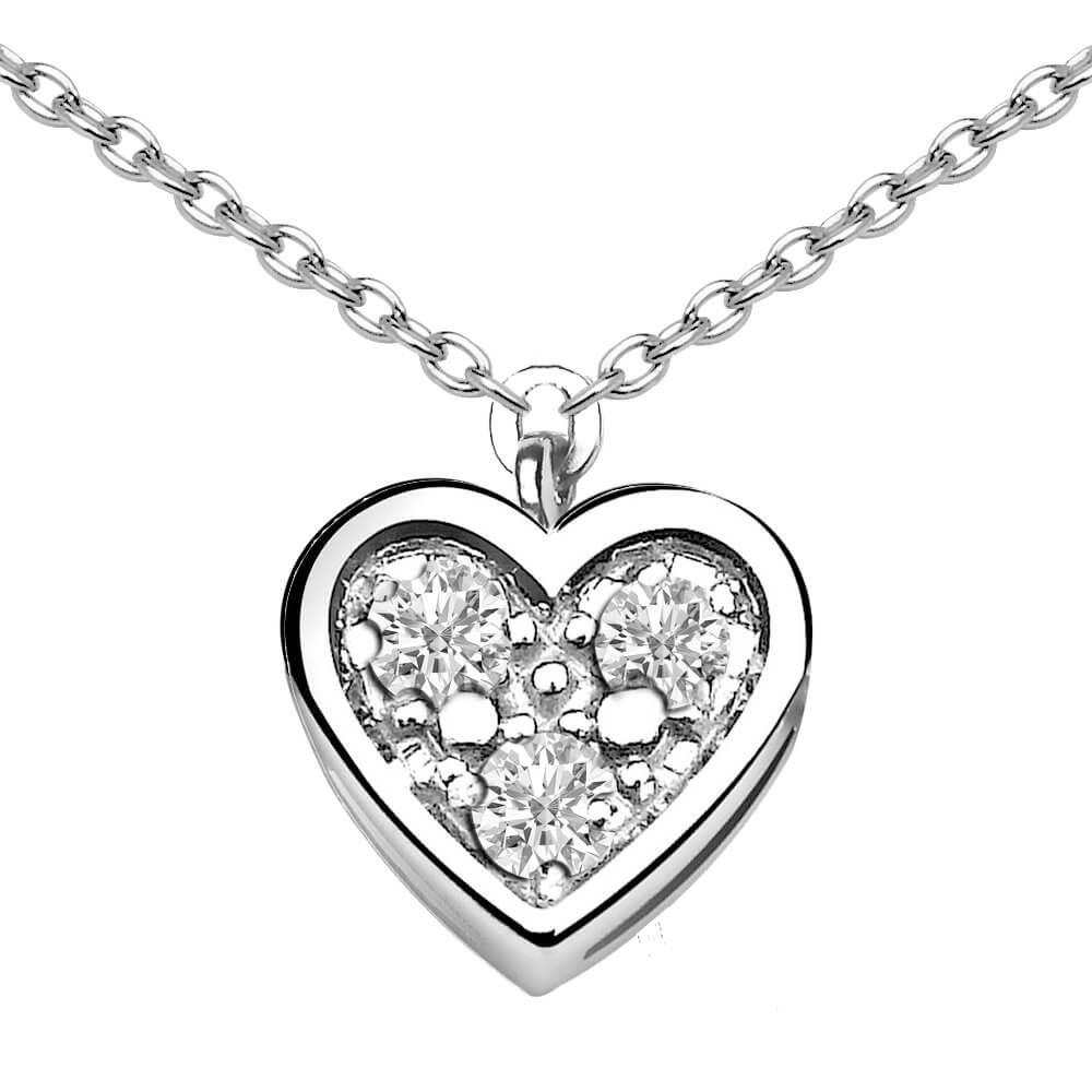 Coeur Diamant Collier argent et diamants