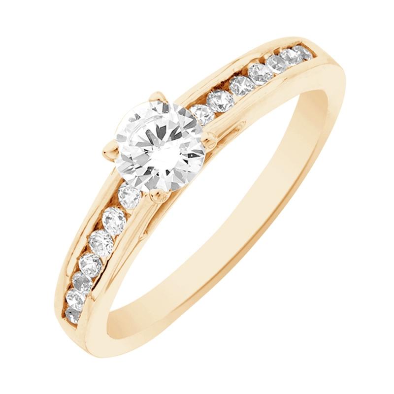 Solitaire or jaune, Diamant , Aerin 0.10 Ct