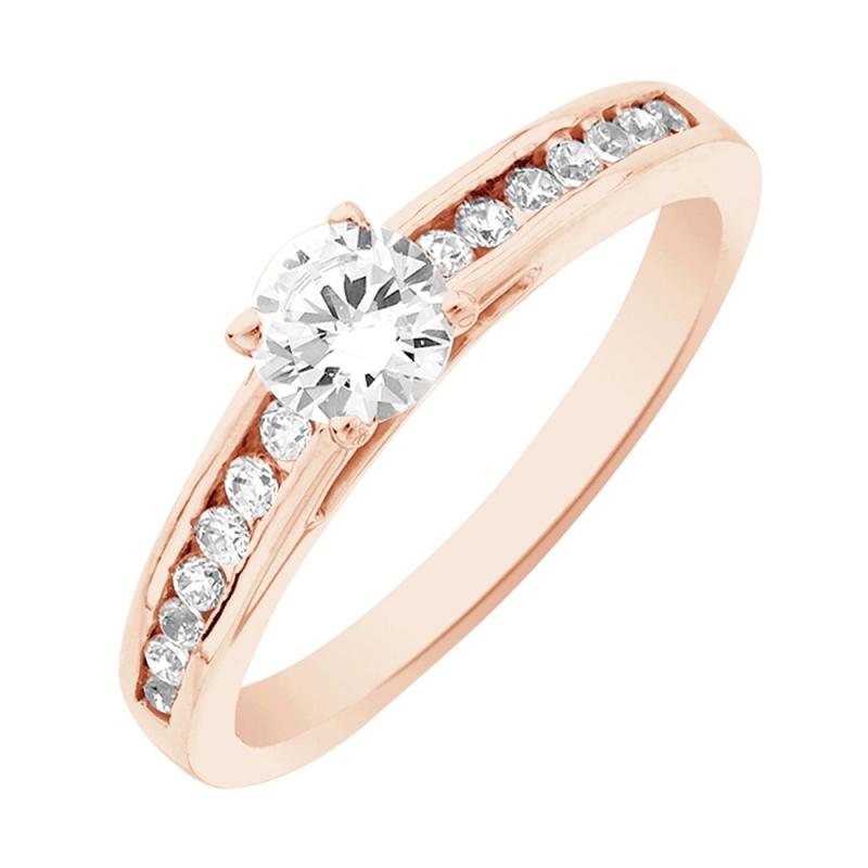 Solitaire or rose, Diamant , Aerin 0.10 Ct