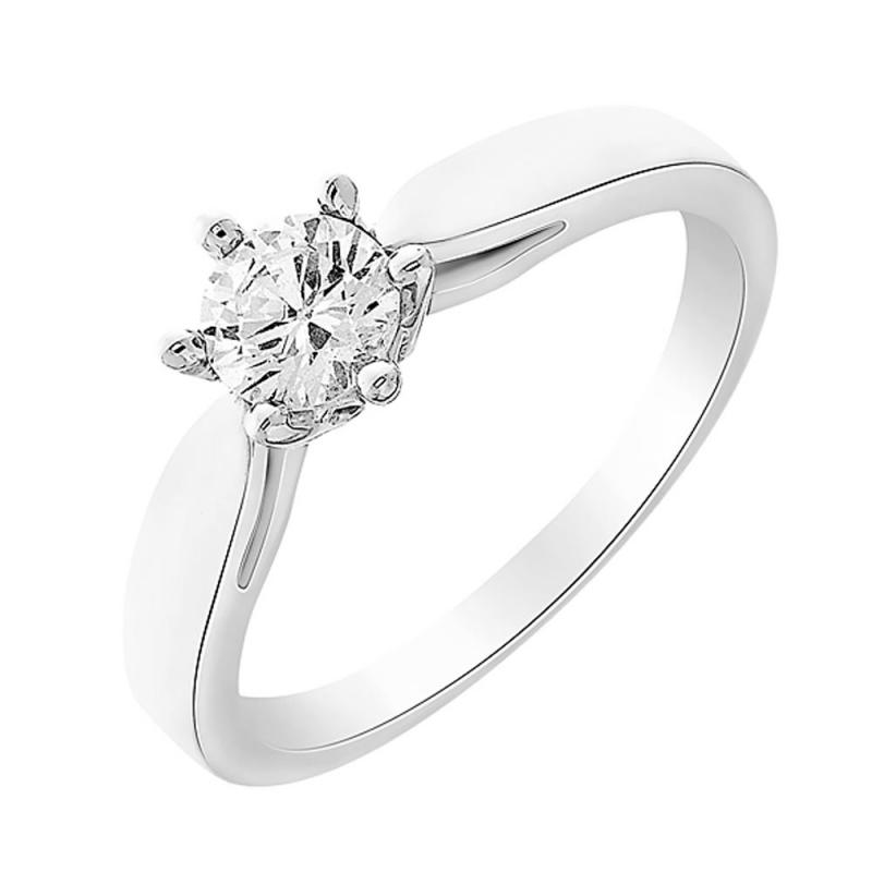 Solitaire or blanc, Diamant , centaure 0.10 carat