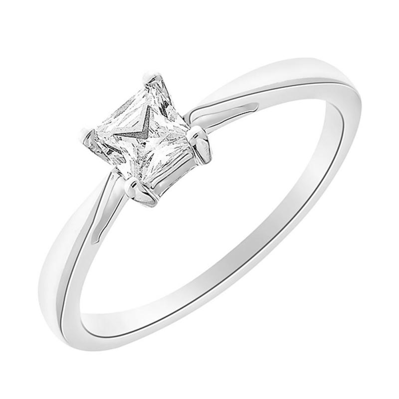 Solitaire or blanc, Diamant , Princess 0.20 carat