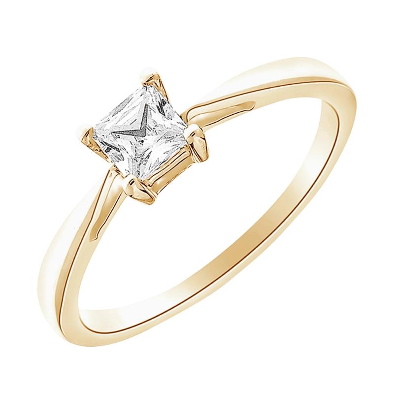 18k Yellow Gold Diamond Solitaire Ring , Princess 0.20 carat
