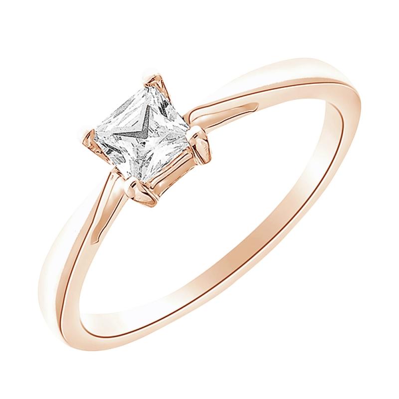 Solitaire or rose, Diamant , Princess 0.20 carat
