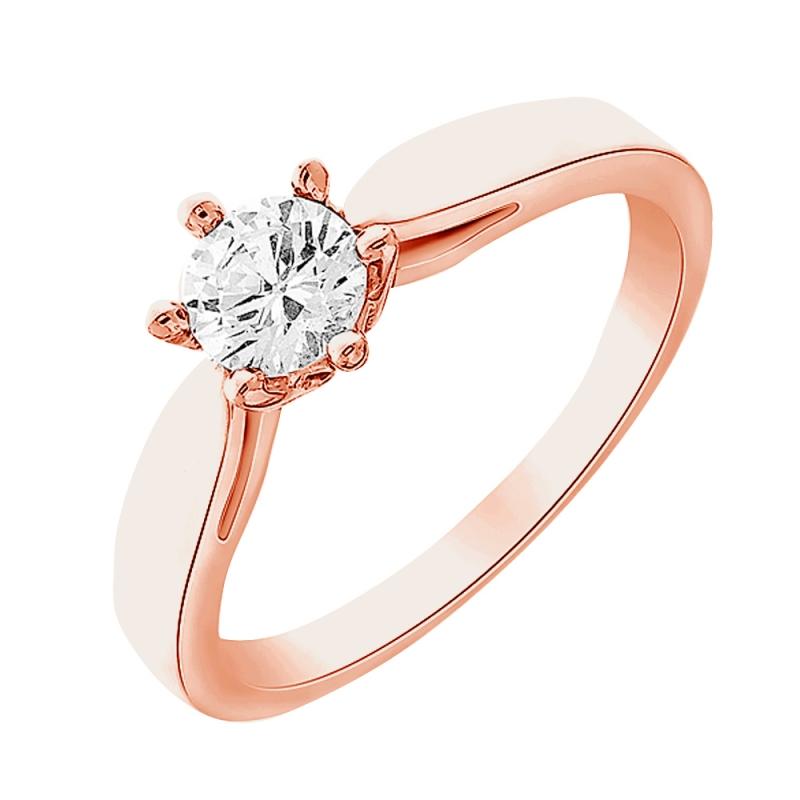 Solitaire or rose, Diamant , centaure 0.10 carat