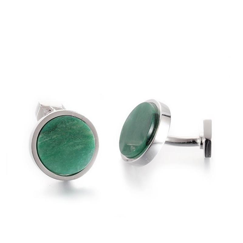 Sterling Silver African Jade Cufflinks, Terre d'ailleurs