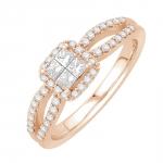 madison bague or rose et diamants bague fiançailles mariage diveene joaillerie
