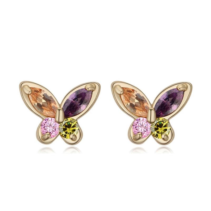 Boucles d'oreilles dorées or jaune, oxydes de zirconium , Butterfly