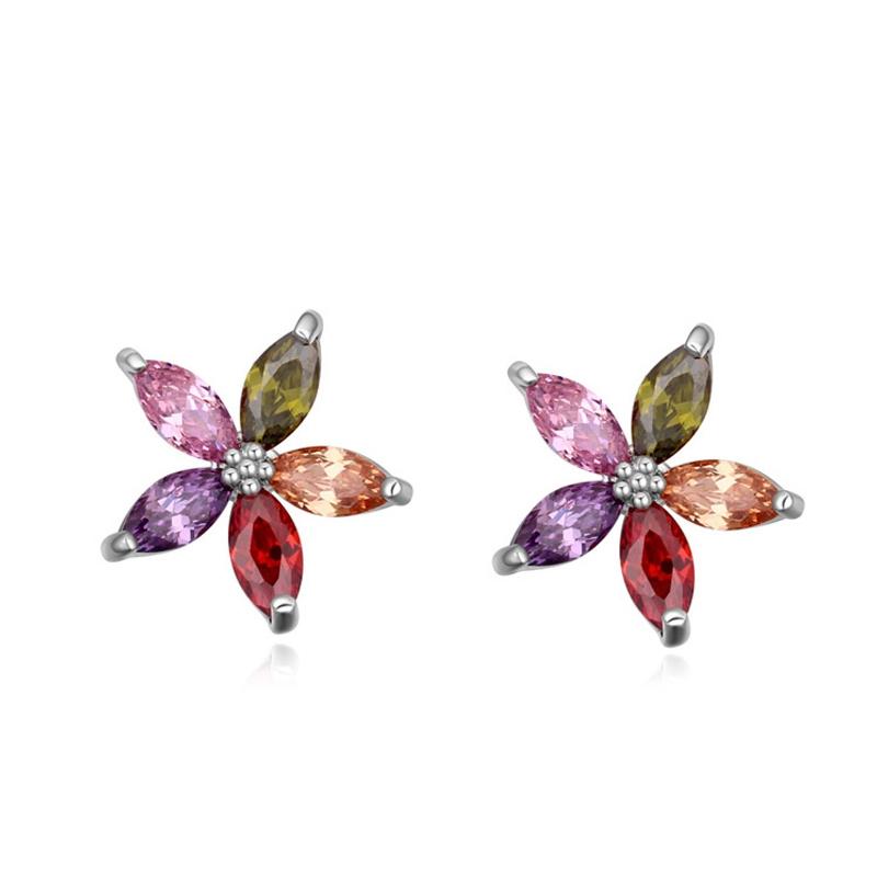Boucles d'oreilles plaqué or blanc, cristal Swarovski , Star