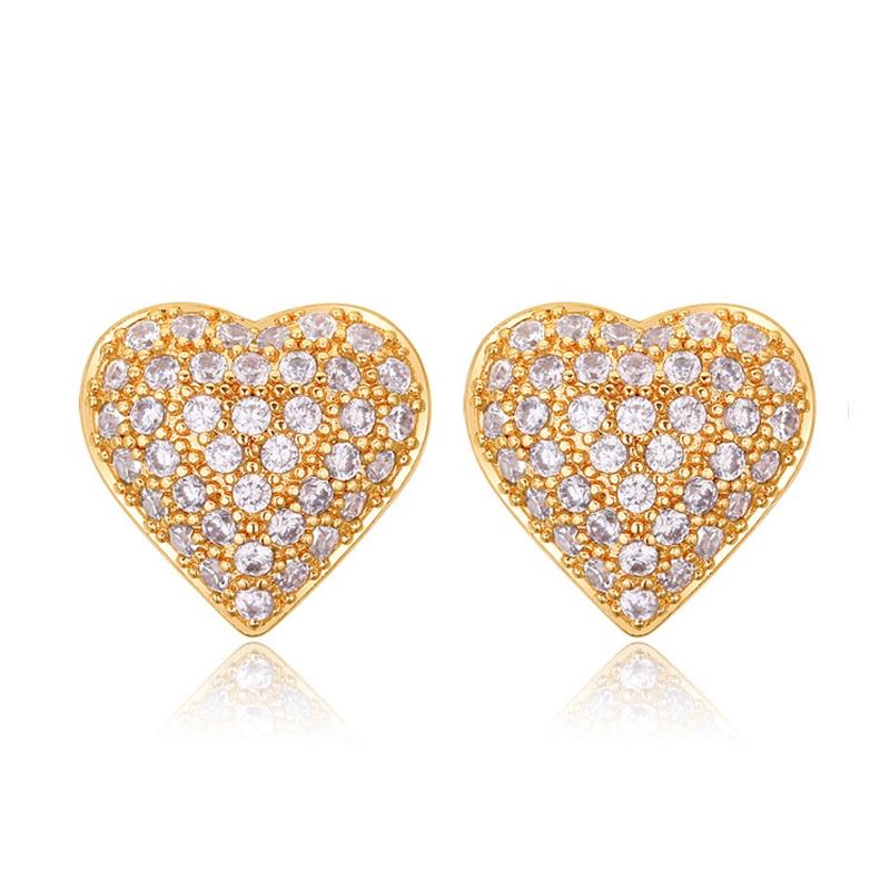 Boucles d'oreilles dorées or jaune, oxydes de zirconium , Lovely
