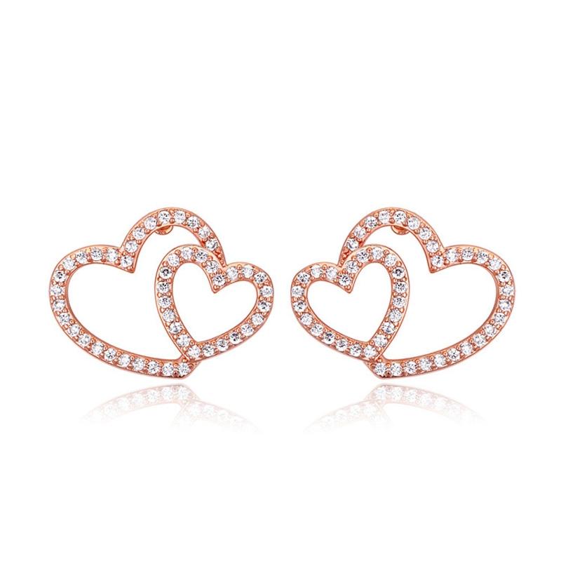 Boucles d'oreilles dorées or rose, oxydes de zirconium , Duo